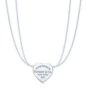 Double chain Tiffany & Co. heart necklace